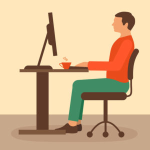 50420618 - office work, desk worker, computer vector illustration,